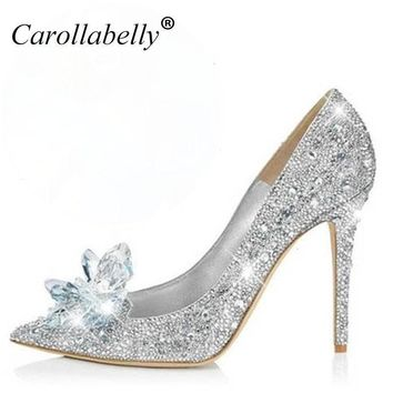 2017 new glitter rhinestone high heels cinderella shoes women pumps pointed toe woman  number 1