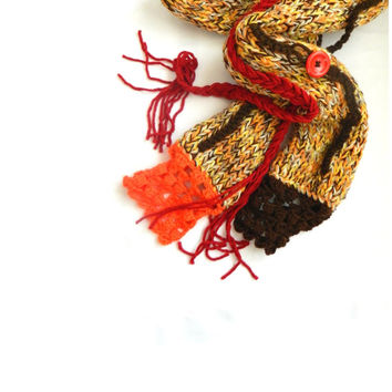 Pippi's Boho Chunky Fall Scarf, Handknit, Hand Braid, Crochet Ends, Multicolor, Warm and Cozy, Winter Fashion, Brown, Red, Orange, Beige