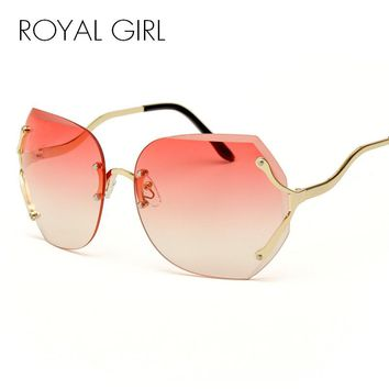 Women  Oversize Sun Glasses Rimless Pink Eyeglasses
