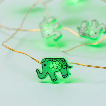 Elephant Green String Lights