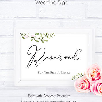 Printable Wedding Reserved Sign, Template, Download, Wedding Printable, Editable PDF, Wedding Signage, Wedding Decor, Reception,Reserved For