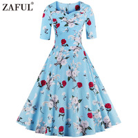 ZAFUL Brand New Plus Size Vintage Women Dress Retro Hurpen 50s Rockabilly Robe Square Neck Floral Party Dresses Tunic Vestidos
