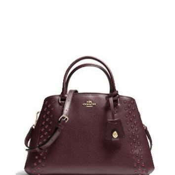 Coach Small Margot Carryall Studded Crossgrain Satchel