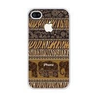iZERCASE Africa Elephant Pattern rubber iphone 4 case - Fits iphone 4 & iphone 4s