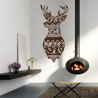 Wall Decals Deer Elk Stag Doodle Nature Vinyl Decal Rural Sticker Home Country Village Hunting Décor Bedroom Nursery Room Living Room Murals S45