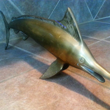 Mid Century Large Hollywood Regency Brass Swordfish, Great Aged Patina Balances on Its Fins and Tail, Very Unique Piece, No Dings or Dents