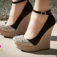 Liliana Two Tone Ankle Strap Round Spiked Toe Wedge - Shoes 4 U Las Vegas