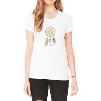 Rhinestones   Lucky Dream Catcher   Scoop Neck T-shirt. Made by Lucky Gambler.
