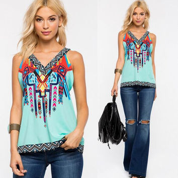 Summer Cosy Boho Print T-Shirts Blouses  for Women A5
