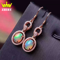 ZHHIRY Genuine Opal Gem Earrings Natural Stone Solid 925 Sterling Silver Women Fine Jewelry Earring