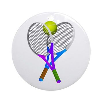 TENNIS RACKETS AND BALL ROUND ORNAMENT