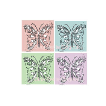 Printable Butterfly Graphic Art / Downloadable Art / Wall Art / Decoupage / Card Making / Scrapbook Papers / Funky Color Ephemera / Cool Art