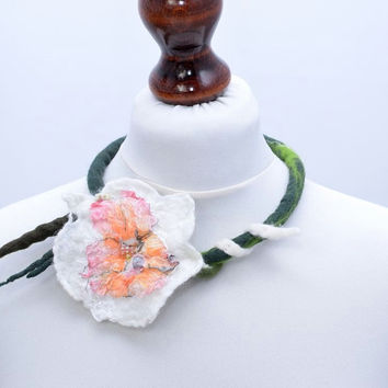 Pure necklace with big white nuno felt water lily flower - delicate, teen, wool and silk fabric, floral, fiber art rope jewelry [N5]
