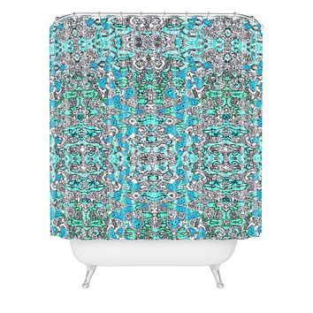 Ingrid Padilla Inked Whimsy In Blue Shower Curtain