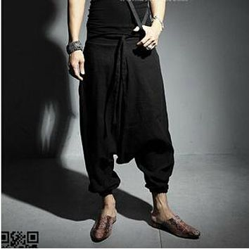 New Japanese Korean men harem pants men Gothic linen slacks Alternative men's trousers pants off stalls stage costumes clothing
