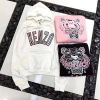 """Kenzo"" Women Casual Fashion Sequin Letter Tiger Head Embroidery Long Sleeve Hooded Sweater Hoodie Tops"