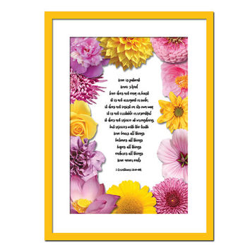 Love is Patient Love is Kind Art Print - 1st Corinthians 13 - Scripture Poster - Floral Art - Scripture Art Print - Christian Bible Verse