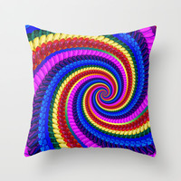 Rainbow Fractal Art Swirl Pattern Throw Pillow by Hippy Gift Shop
