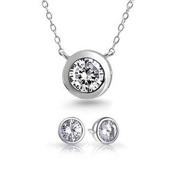 1CT Solitaire CZ Bezel Pendant Necklace Earring Set Sterling Silver