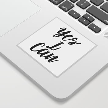 Yes I Can, Inspirational Print, Inspirational Quote, Typography Design, Motivational Art, Inspiring Sticker by artbynikola