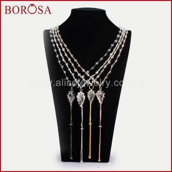 BOROSA Arrowhead Gold Color Natural White Crystal Quartz With Tassel & White Quartz Druzy Beads Drusy Pendant Necklace G1264