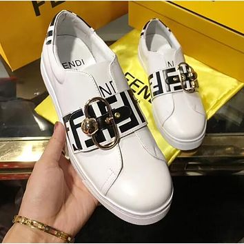 FENDI Trending Women Stylish Casual Flats Shoes White