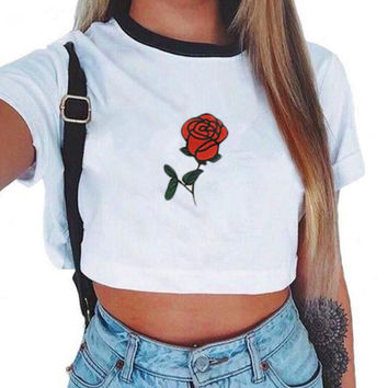 Fashion round neck rose print short sleeve tee T-shirt dew navel top white