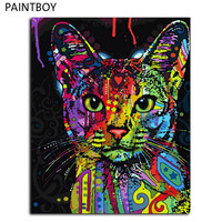 Frameless Picture Painting By Numbers Abstract Animal Cat DIY Oil Painting On Canvas Home Decoration For Living Room 40*50cm
