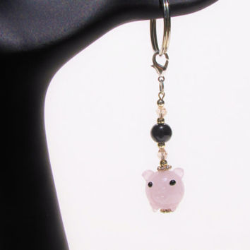 Cute Pig Keychain Keyfob Under 10, New 1st Time Driver Backpack, Purse, Planner, Zipper Pull Charm Gift For Her Mom loUiSiAnaCre8ions