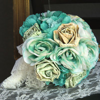 Rustic Bridal Bouquet, Paper Flower Wedding Bouquet, Fabric Bouquet, Teal Green Flowers, Ready to Ship
