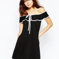 ASOS Off Shoulder Dress with Contrast Bow