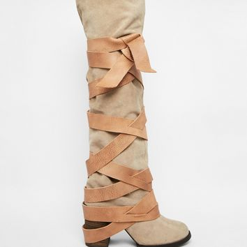 Free People Paradiso Suede Wrap Knee Boots