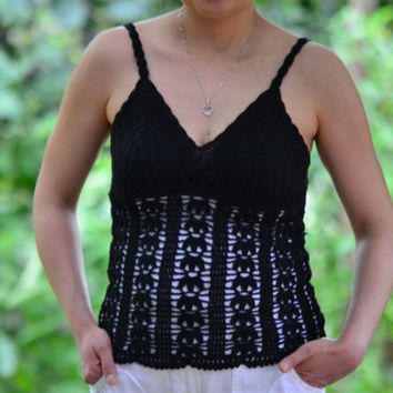 Back Crochet top, Summer top women, black lace top, tank top women, crochet bra, boho top summer, beach top, summer festival top