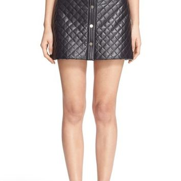 Adam Lippes Quilted Lambskin Leather Miniskirt | Nordstrom