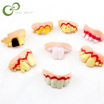 Gags Practical 2  piece Funny Gags Practical Jokes Prank Freak False Teeth Set Halloween/April Fool's Day Gift Wacky Toys GYH