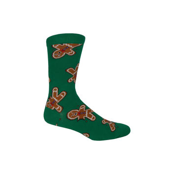 Gingerdead Men Crew Socks in Green