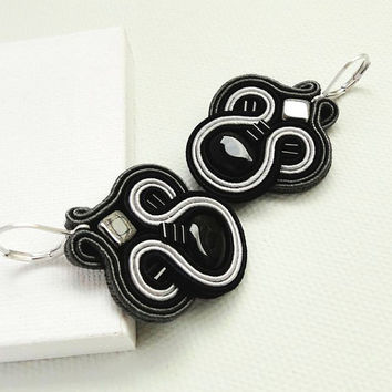 Black Earrings Grey Earrings Chandelier Earrings Soutache Earrings Black Chandelier Earrings Black Dangle Earrings