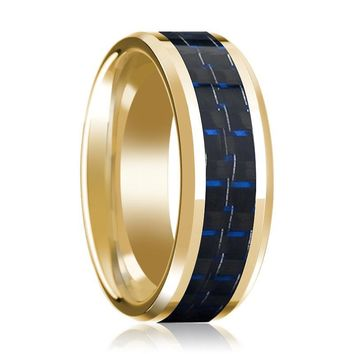 Mens Wedding Ring with Blue & Black Carbon Fiber Inlay & 14K Yellow Gold Beveled Edge Polished Design