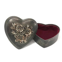 Vintage Silver Tone Metal Heart Shaped Box, Carved Roses, Romantic, Burgundy Velvet Lining,Tarnished, Patina, Gothic, Jewelry, Keepsake Box
