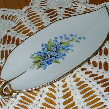 "Antique Limoges ""Tharaud"" Dish Forget Me Not Motif"