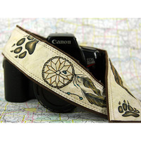 Wolf Print Dream Catcher Camera Strap, Hand Painted, One of a Kind, dSLR or SLR, 14-4