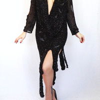Vintage 80's does 20s Black Sequin Beaded Gown Great Gatsby 1920s Style Short Evening Gown Morticia Addams 30s 40s Lounge Singer Fringe