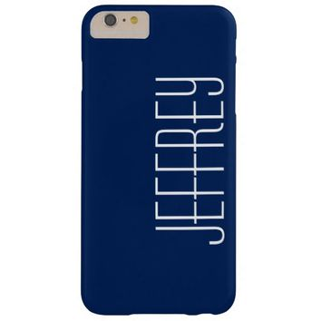Modern Dark Blue & White, Personalized Jumbo Text Barely There iPhone 6 Plus Case