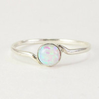 white opal ring, opal ring Sterling silver opal ring Silver white opal ring Silver stacking ring Gemstone white opal white opal white stone