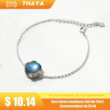 Thaya Original Design Aurora Moonstone Forest Cushion Ladies' Bracelets 925 Silver Scale light Bracelet Female Simple jewelry