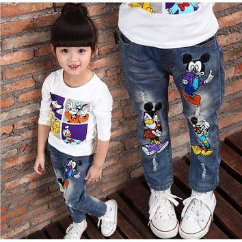 ICIKL3Z Brand Kids Baby Boys Girls Jeans 2016 Cartoon Character Printed Casual Denim Pants Spring and Autumn New Jeans For Children Pant