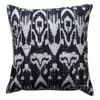 "16"" Black Indian Ikat Kantha Thread Floral Cotton Cushion Pillow Throw Cover India Ethnic Decorative Art"