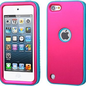 iPod Touch 5, Case, iPod Touch 5th generation Case - NageBee - Premium Heavy Duty Defender Protector with Stand Hard Case for Apple iPod Touch 5 5th Generation with free Ultra-sensitive Stylus Pen (Verge Hybrid Rubberized Teal Green/Electric Pink)
