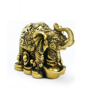 Gold Polystone Chinese Elephant Statue