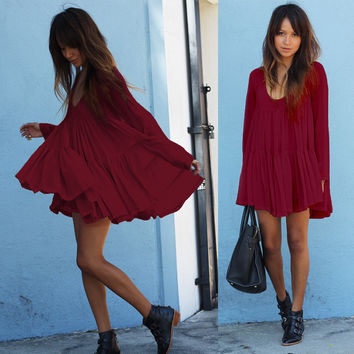 Pure Color Scoop Loose Long Sleeves Short Chiffon Dress